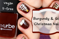 Video Nail Art – Burgundy & Gold Christmas Nails Vernis à ongles