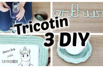 DIY – 3 Décorations en Tricotin pour la chambre de Bébé   Tutoriel Tricotin